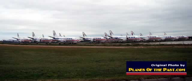 American Eagle Airlines Saab 340 airliners in storage at the Abilene Airport in Texas (October 2012)