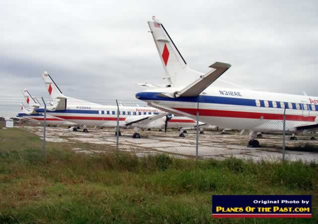 American Eagle Airlines Saab 340 airliners ... some with tail sections and engines removed