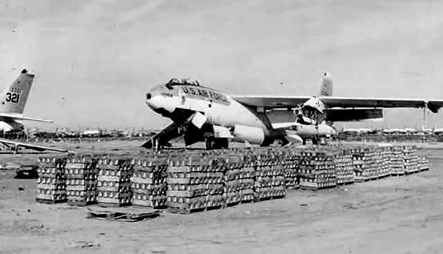 Stacks of metal ingots from melted Boeing B-47 Stratojets at Davis-Monthan AFB