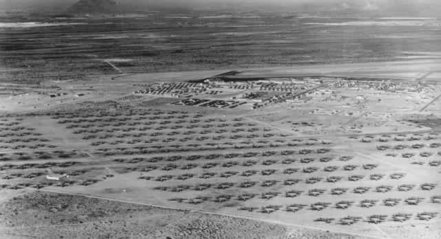 Aerial view of Davis-Monthan Air Force Base, May 1946, showing more than 600 B-29 Superfortress and 200 C-47 aircraft