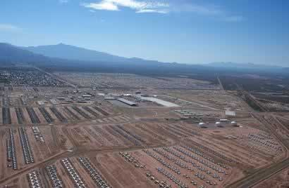 Current day aerial view of Davis-Monthan Air Force Base in Tucson, Arizona