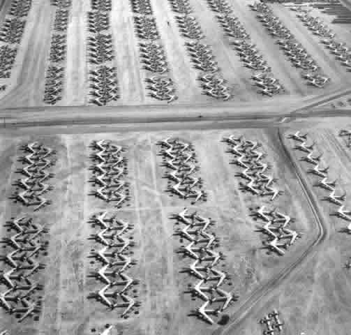 Aerial view of Boeing B-47 Stratojets at Davis-Monthan AFB awaiting scrapping in January, 1967