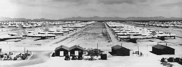 Rows of cocooned B-29 Superfortress bombers in storage at Davis-Monthan Air Force Base boneyard, circa 1950