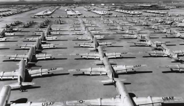 Rows of Boeing C-97 and KC-97 aircraft at Davis-Monthan AFB AMARG awaiting scrapping, circa early 1970s