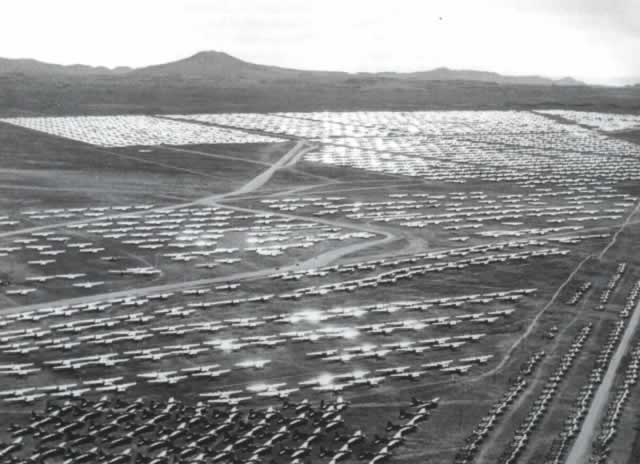 Aircraft parked and awaiting sale, or the furnaces, at Kingman AAF after World War II