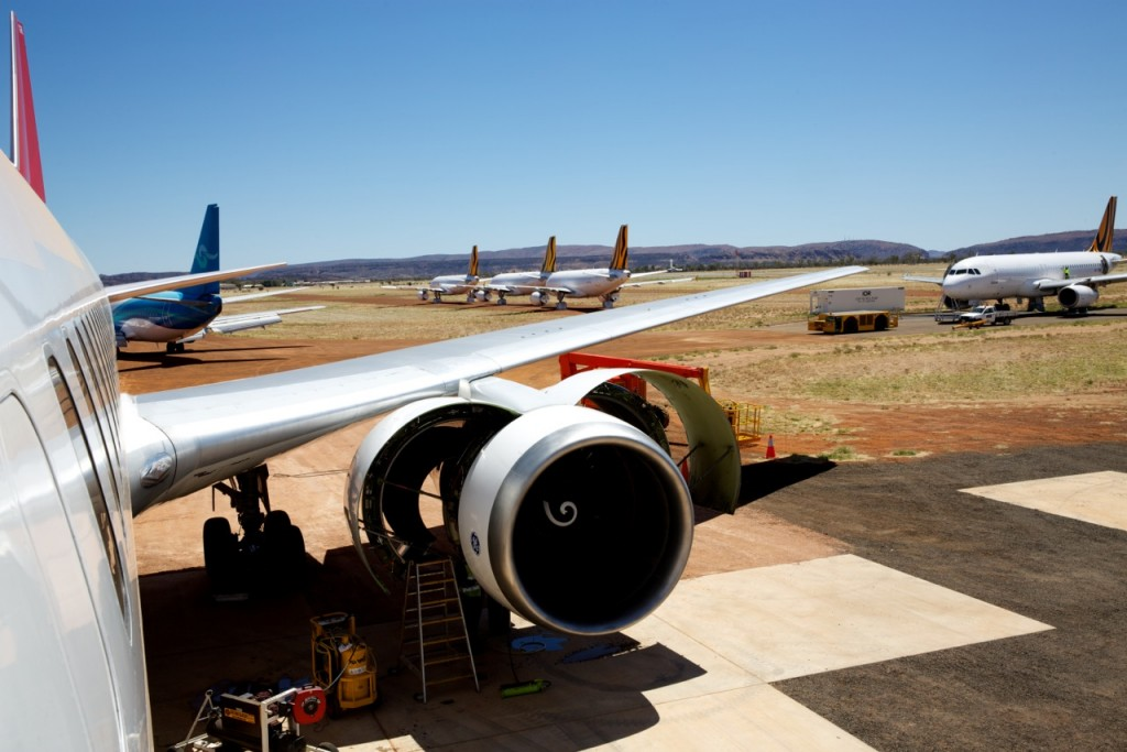 Airliners in storage at Alice Springs Airport in Australia