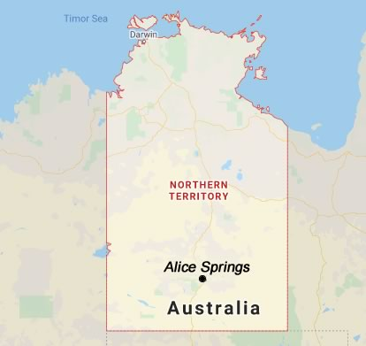 Location of Alice Springs in the Northern Territory of Australia