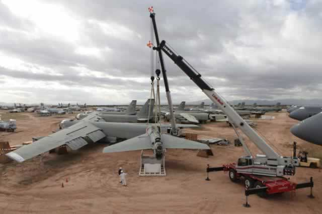B-52G Superfortress reclamation at the Davis-Monthan Air Force Base AMARG boneyard as part of the START Treaty