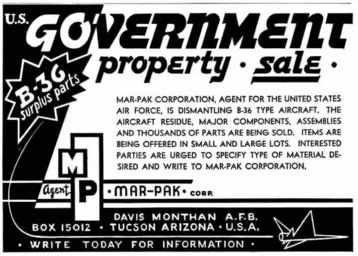 Advertisement by the Mar-Pak Corporation for the sale of B-36 surplus parts at its Davis-Monthan facility in Tucson