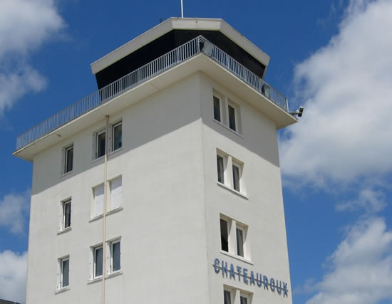 The control tower at the Chateauroux Airport in France