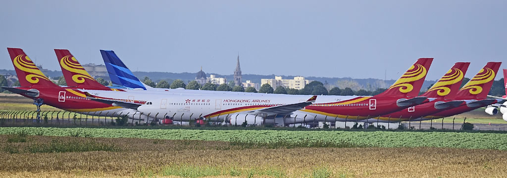 Stored Hong Kong Airlines jetliners at the Chateauroux Airport