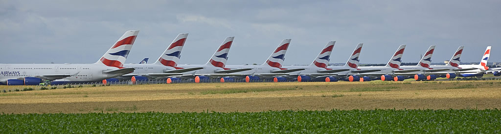 British Airways Airbus A380s in storage at the Chateauroux Airport
