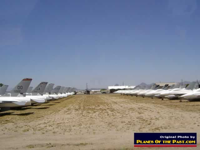 Rows and rows of jet fighters in storage at AMARG