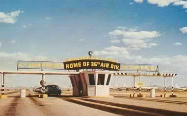 Entrance gate to Davis-Monthan Air Force Base, Home of the 36th Air Division, as seen in this historic postcard