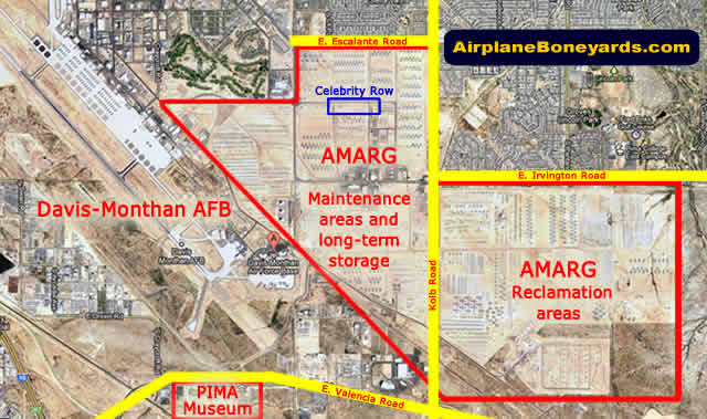 Map of the location of Davis-Monthan Air Force Base, the AMARG boneyard areas, and the Pima Air Museum