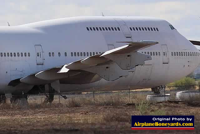 Boeing 747, engines removed, at the Phoenix Goodyear Airport in the Arizona desert