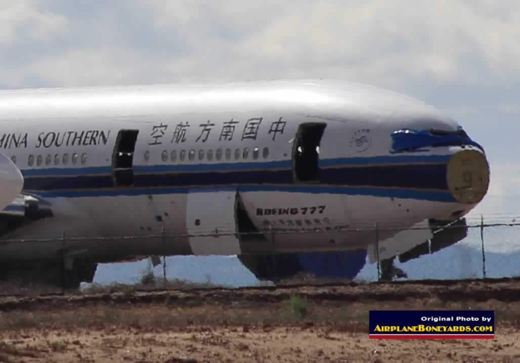 How are airliners scrapped? Seen here is a China Southern Airlines Boeing 777 being scrapped at the Phoenix Goodyear Airport
