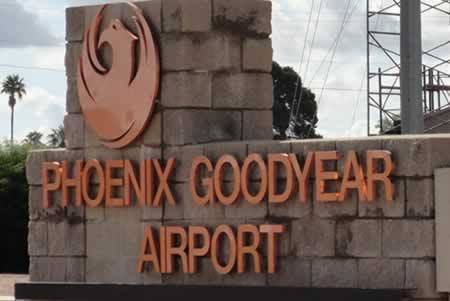 Sign at the entrance to Phoenix Goodyear Airport