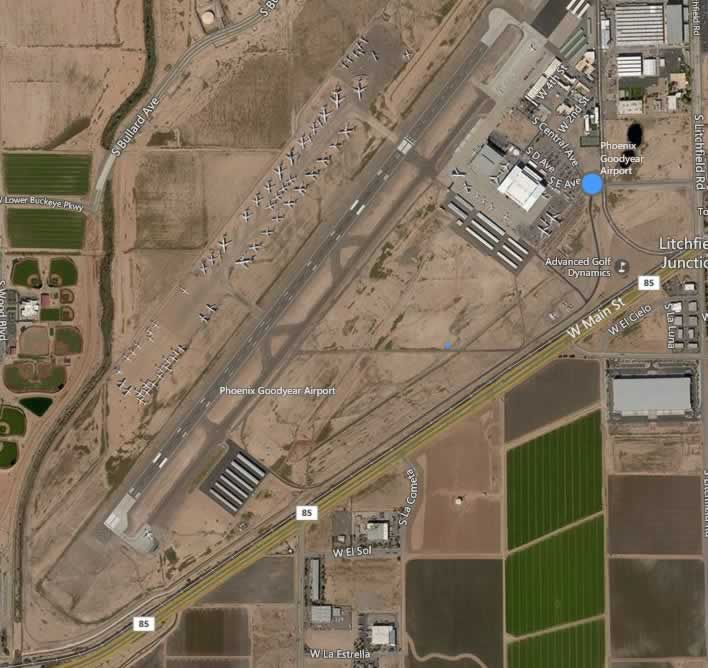 Aerial view of the Phoenix Goodyear Airport with airliners in storage