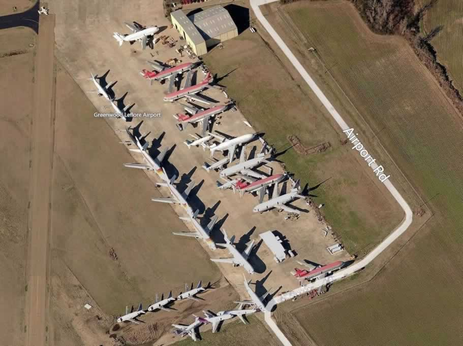 Aerial view of airliners stored at the Greenwood LeFlore Airport boneyard in Mississippi