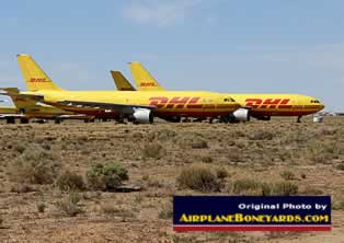 DHL jet freighters in storage at the Kingman Airport airliner storage facility in the Arizona desert