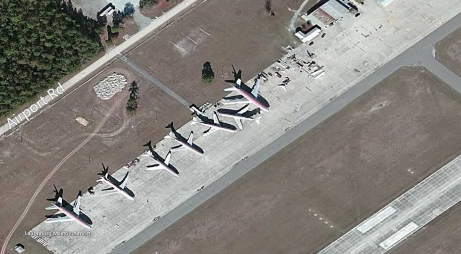 Aerial view of airliner boneyard at the Laurinburg-Maxton Airport in North Carolina