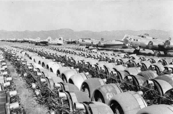 Rows of aircraft engines removed from surplus bombers at the Kingman boneyard