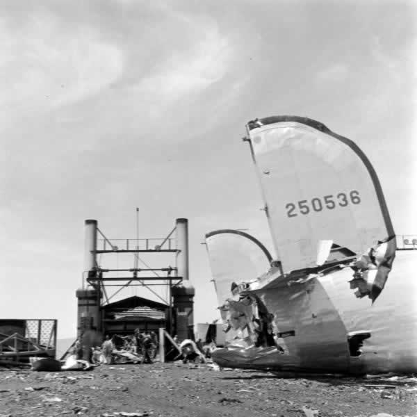 Once cut in pieces, aircraft remnants are moved to the smelter (in the distance)