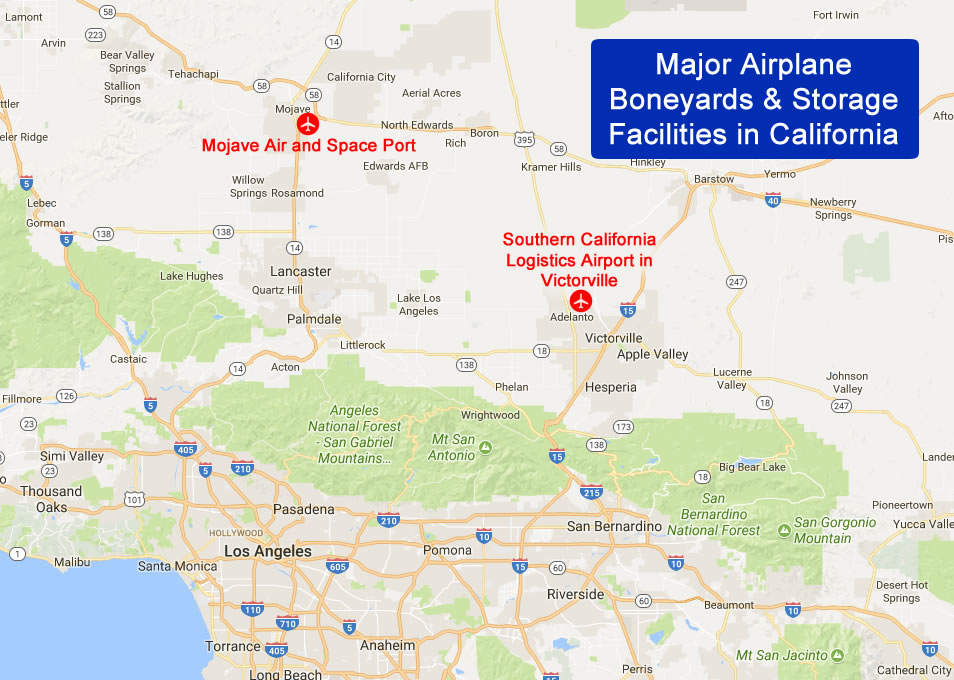 Map of major airplane boneyards and storage facilities in California