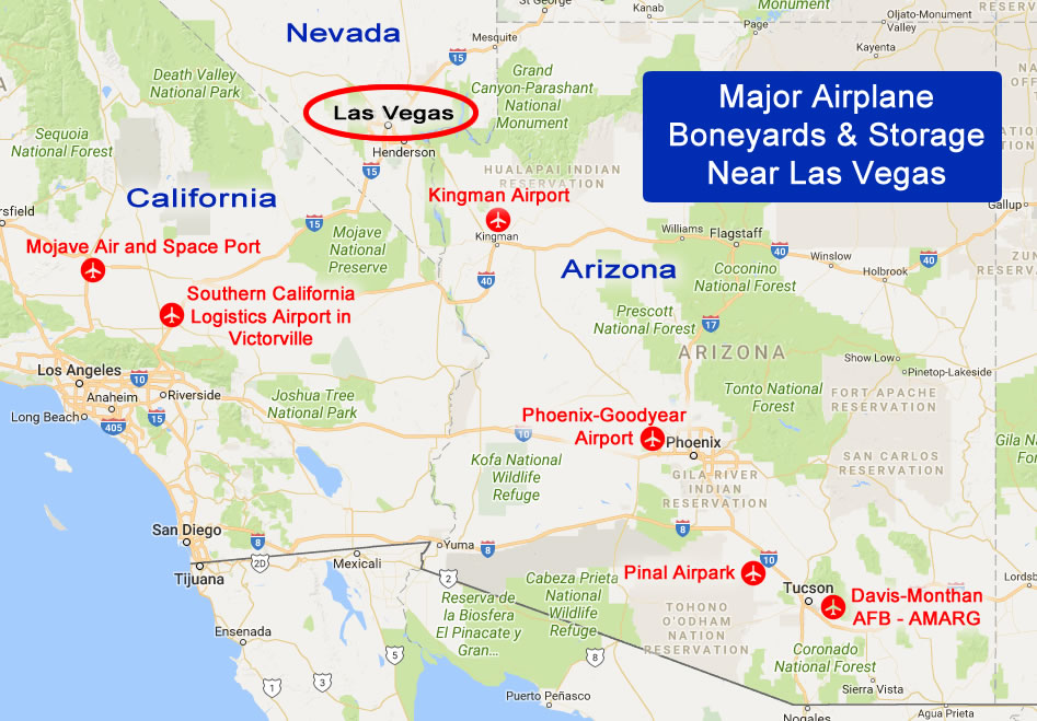 Map of major airplane boneyards and storage facilities in the deserts near Las Vegas, Nevada