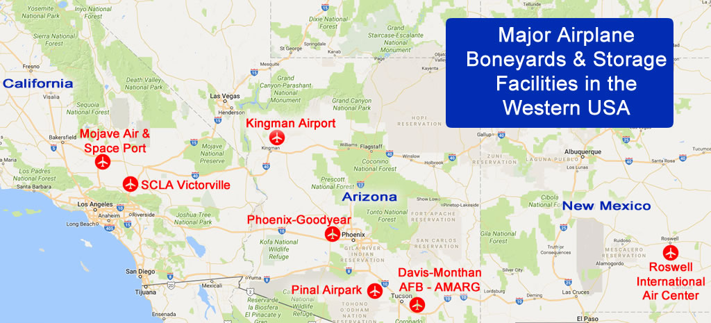 Map of major airplane boneyards and storage facilities in the deserts of the western USA