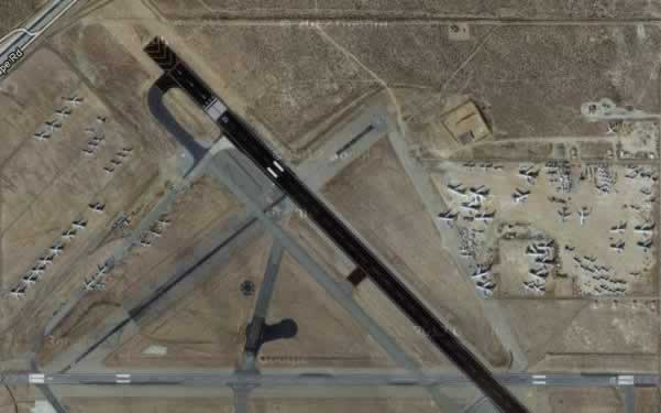 Aerial view of runways and airliners in storage at Mojave Airport