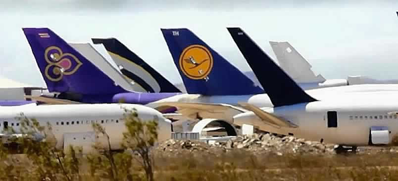Airliners of the world being reclaimed at the Mojave Airport in California