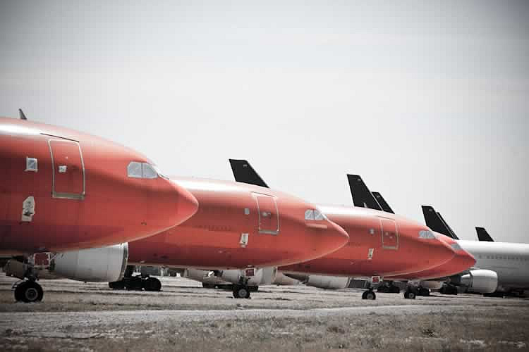 Airbus airliners stored at the Mojave Airport in the California desert