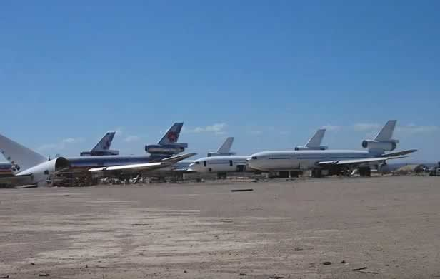 McDonnell-Douglas jetliners being disassembled at the Mojave Airport in the California desert
