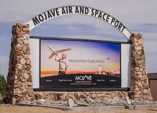 "Entrance sign at the Mojave Air & Space Port ... ""Imagination Flies Here"""