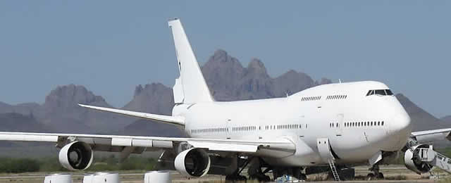 Boeing 747 wide-body jetliner in storage at the Pinal Airpark in Arizona