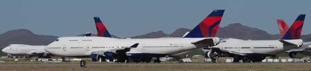 Boeing 747s of Delta Air Lines in storage at the Pinal Airpark in Arizona