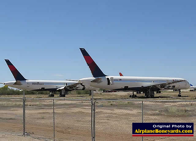 Two Delta Air Lines Boeing 757-232 jetliners undergoing reclamation at the Pinal Airpark in Arizona