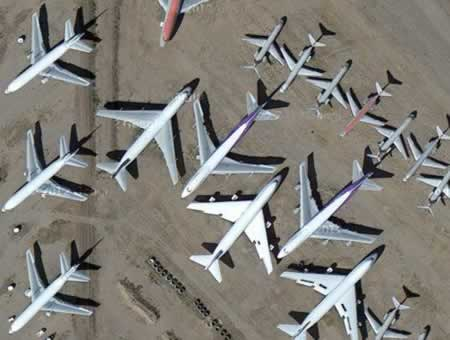 Airliners in storage at Pinal Airpark in Arizona