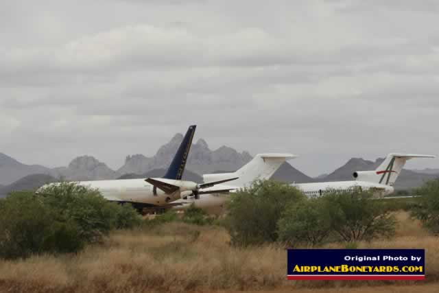 Airliners in storage at the Pinal Airpark in Arizona, including two Boeing 727 jets