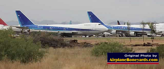 Boeing 747 jumbo airliners in storage at the Pinal Airpark in Arizona