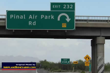 Exit 232 off Interstate I-10 to Pinal Air Park Road