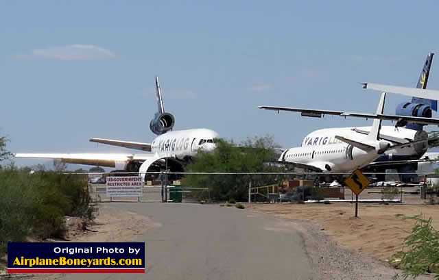 Brazilian cargo VarigLog DC-10 airliners in storage at the Pinal Airpark in Arizona