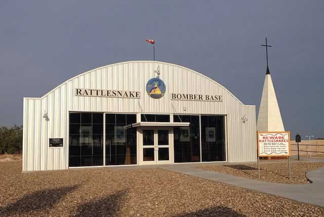 Exterior view of the Rattlesnake Bomber Base Museum in Monahans, Texas