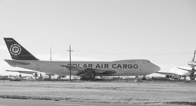 Polar Air Cargo Boeing 747 parked at the Roswell International Air Center