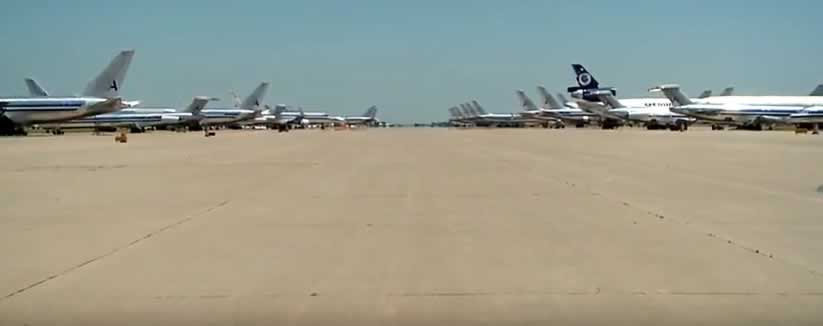 Airliners lined up on the apron at the Roswell International Air Center