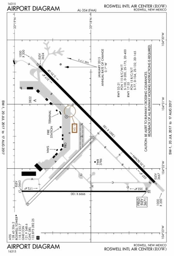 FAA Diagram of the Roswell International Air Center