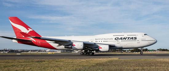 "Qantas Boeing 747 ""Wunala"" departing Sydney, Australia"