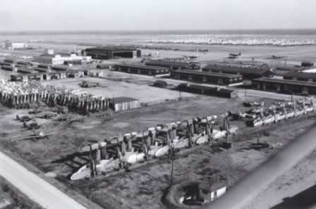 Walnut Ridge Army Air Field, showing fighters stacked while awaiting salvage after World War II